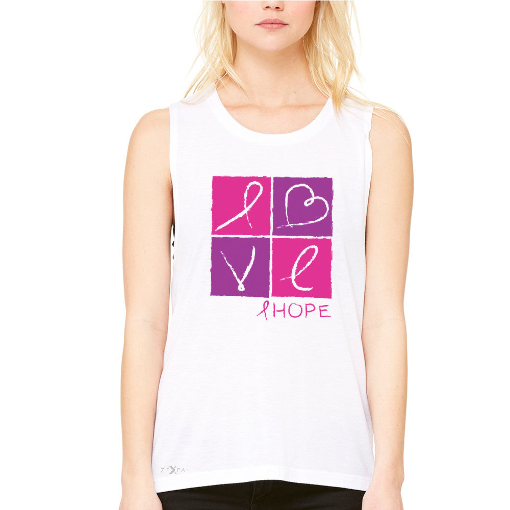 Hope Love Women's Muscle Tee Breast Cancer Awareness Month Support Tanks - Zexpa Apparel - 6