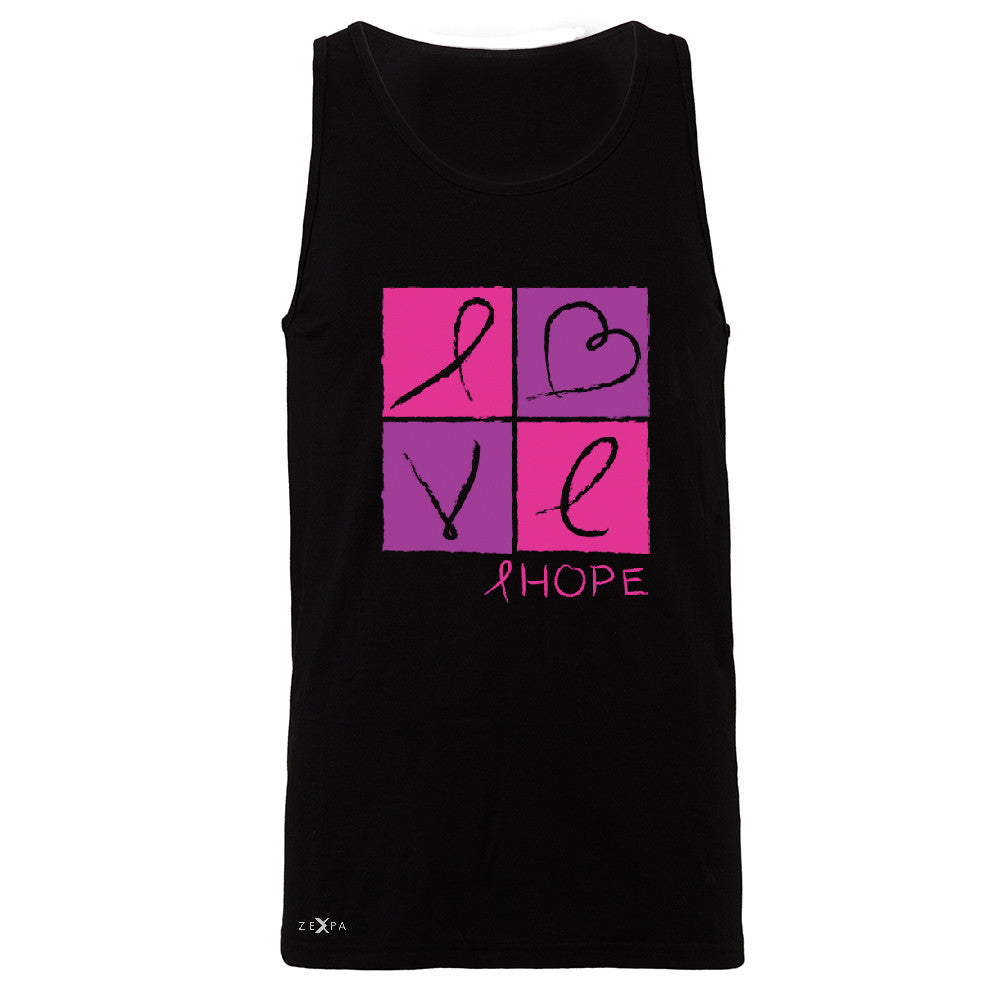 Hope Love Men's Jersey Tank Breast Cancer Awareness Month Support Sleeveless - Zexpa Apparel - 1