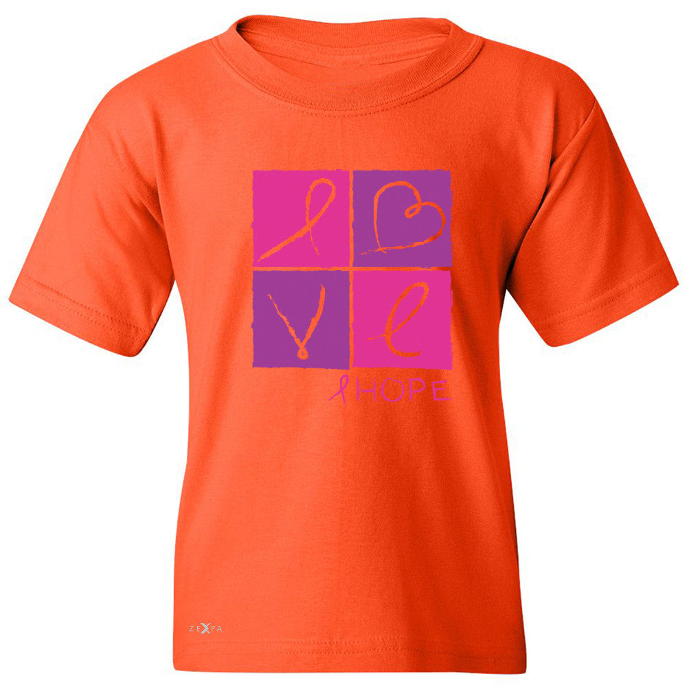 Hope Love Youth T-shirt Breast Cancer Awareness Month Support Tee - Zexpa Apparel - 2