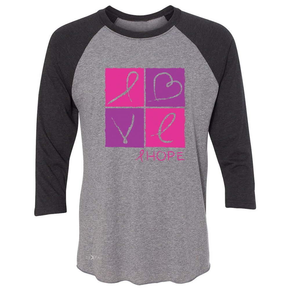 Hope Love 3/4 Sleevee Raglan Tee Breast Cancer Awareness Month Support Tee - Zexpa Apparel - 1