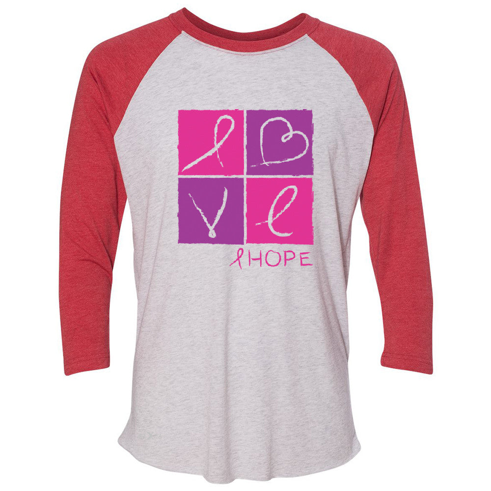 Hope Love 3/4 Sleevee Raglan Tee Breast Cancer Awareness Month Support Tee - Zexpa Apparel - 2