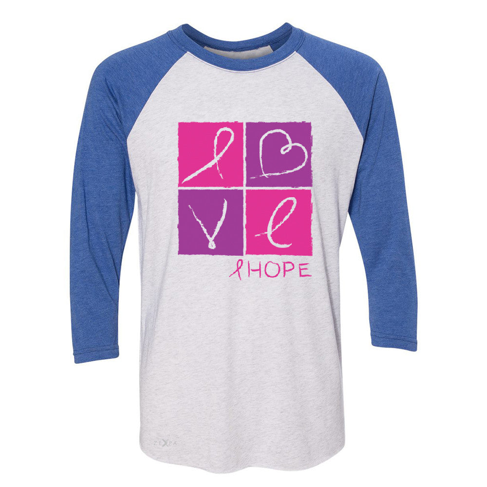 Hope Love 3/4 Sleevee Raglan Tee Breast Cancer Awareness Month Support Tee - Zexpa Apparel - 3