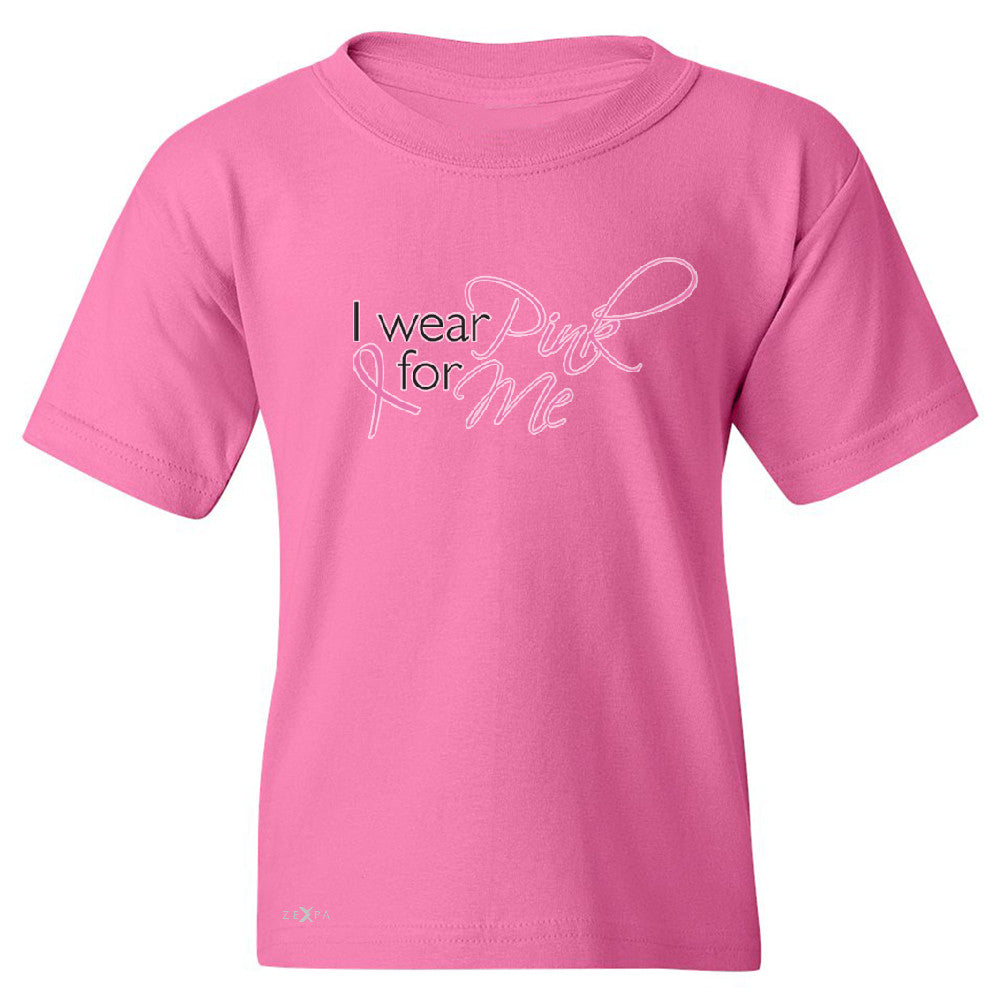 I Wear Pink For Me Youth T-shirt Breast Cancer Awareness Month Tee - Zexpa Apparel - 3