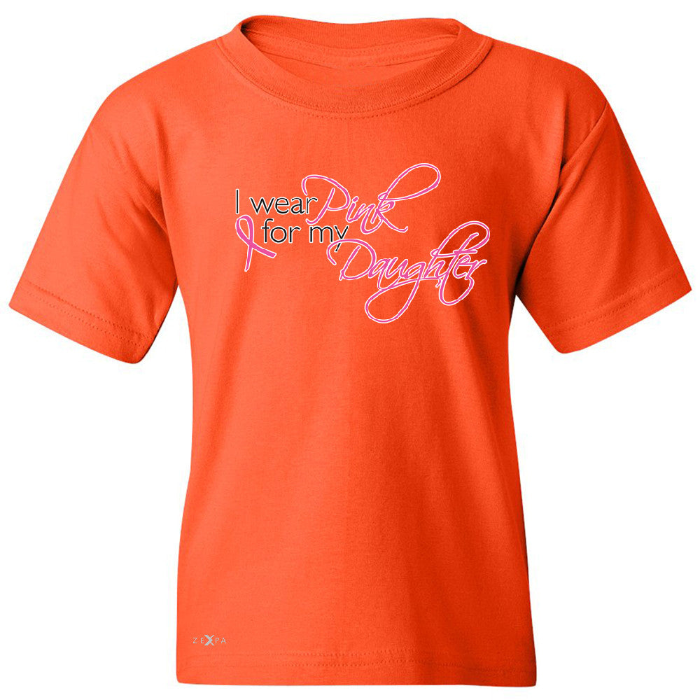 I Wear Pink For My Daughter Youth T-shirt Breast Cancer Awareness Tee - Zexpa Apparel - 2