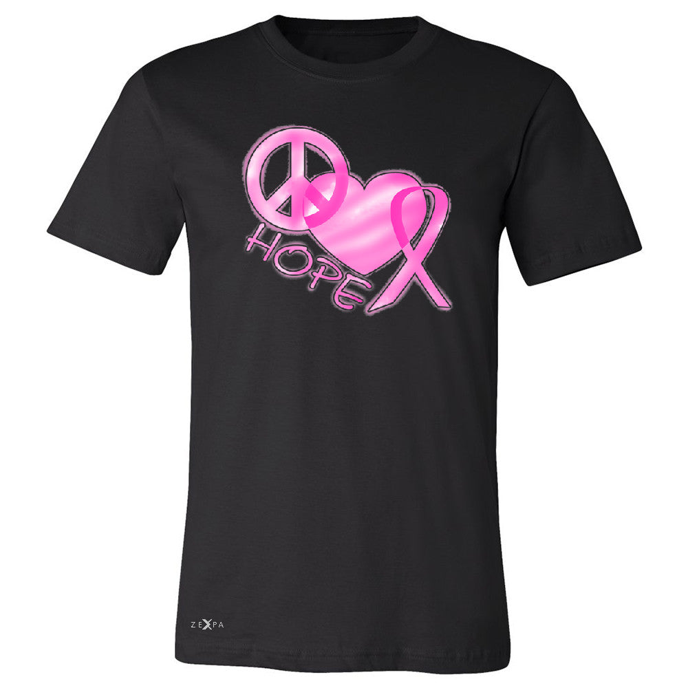 Hope Peace Ribbon Heart Men's T-shirt Breast Cancer Awareness Tee - Zexpa Apparel - 1
