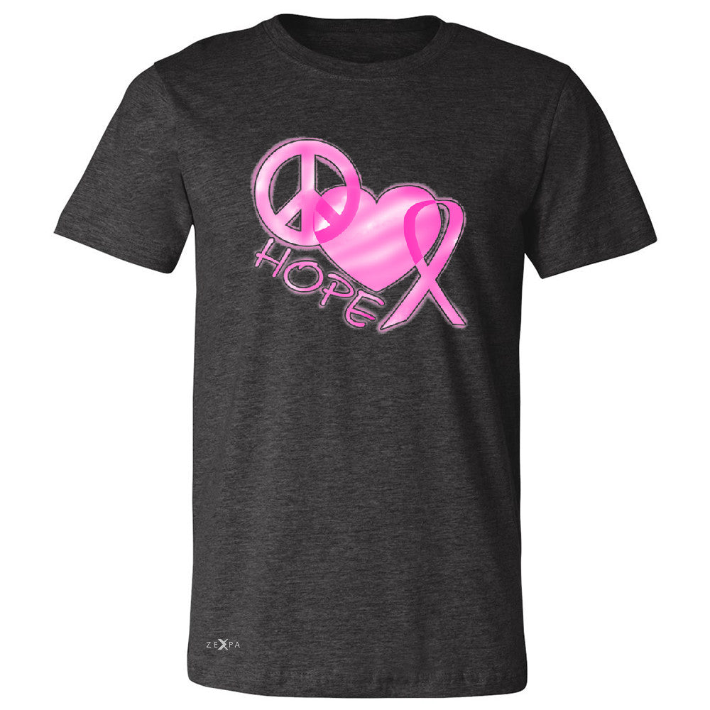Hope Peace Ribbon Heart Men's T-shirt Breast Cancer Awareness Tee - Zexpa Apparel - 2