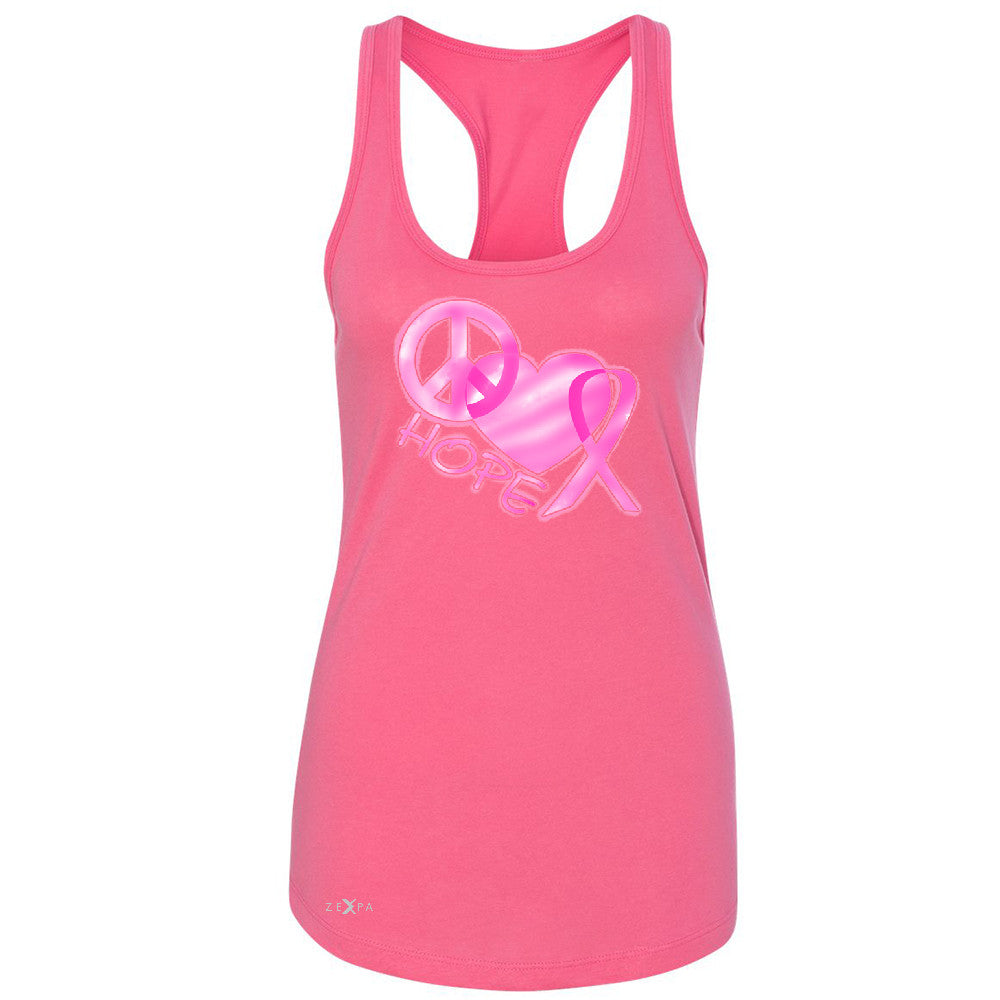 Hope Peace Ribbon Heart Women's Racerback Breast Cancer Awareness Sleeveless - Zexpa Apparel - 2