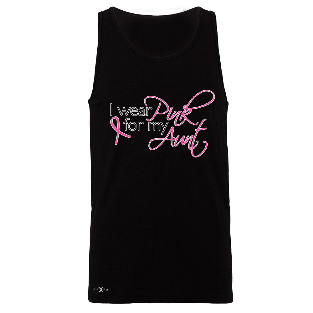 I Wear Pink For My Aunt Men's Jersey Tank Breast Cancer Awareness Sleeveless - Zexpa Apparel - 1