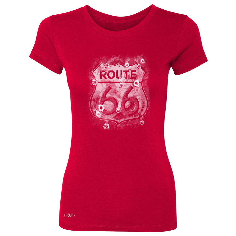 Route 66 Bullet Holes Unisex - Women's T-shirt Highway Sign Tee - Zexpa Apparel - 4