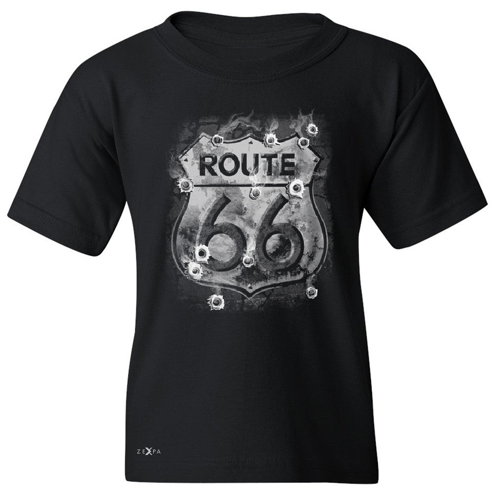 Route 66 Bullet Holes Unisex - Youth T-shirt Highway Sign Tee - Zexpa Apparel - 1