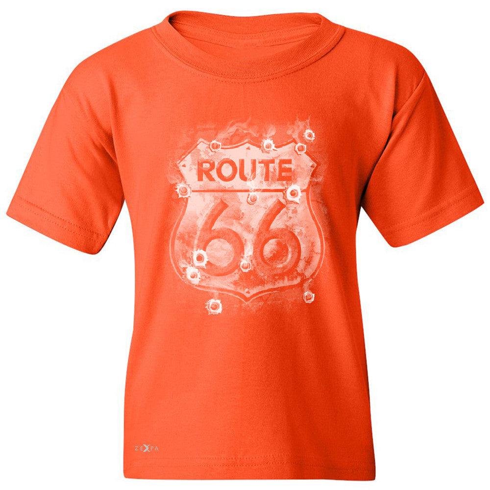 Route 66 Bullet Holes Unisex - Youth T-shirt Highway Sign Tee - Zexpa Apparel - 2