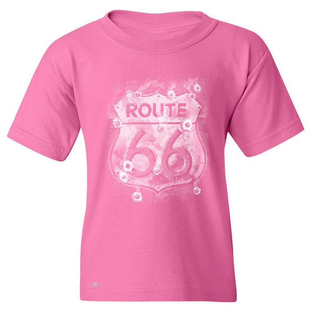 Route 66 Bullet Holes Unisex - Youth T-shirt Highway Sign Tee - Zexpa Apparel - 3