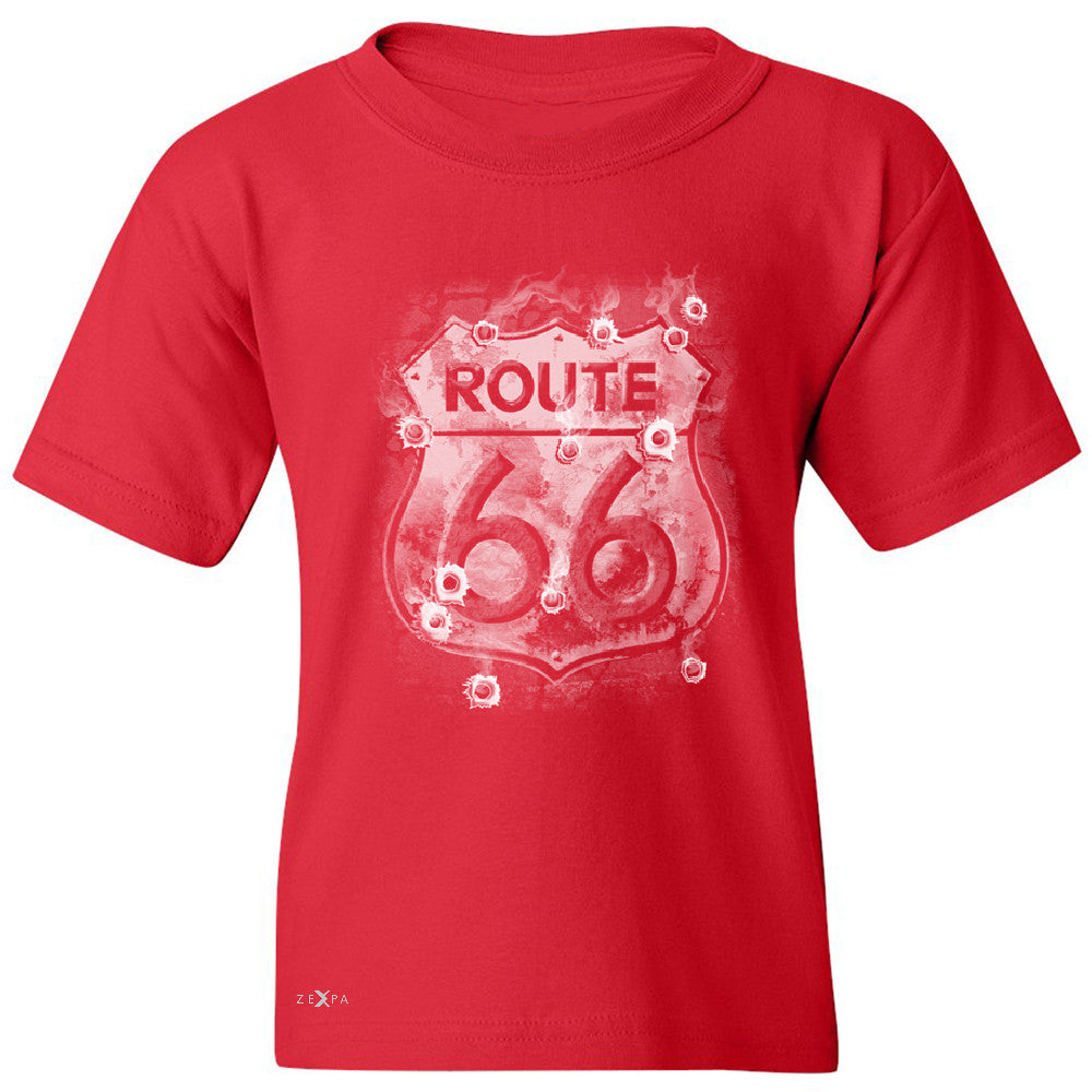 Route 66 Bullet Holes Unisex - Youth T-shirt Highway Sign Tee - Zexpa Apparel - 4