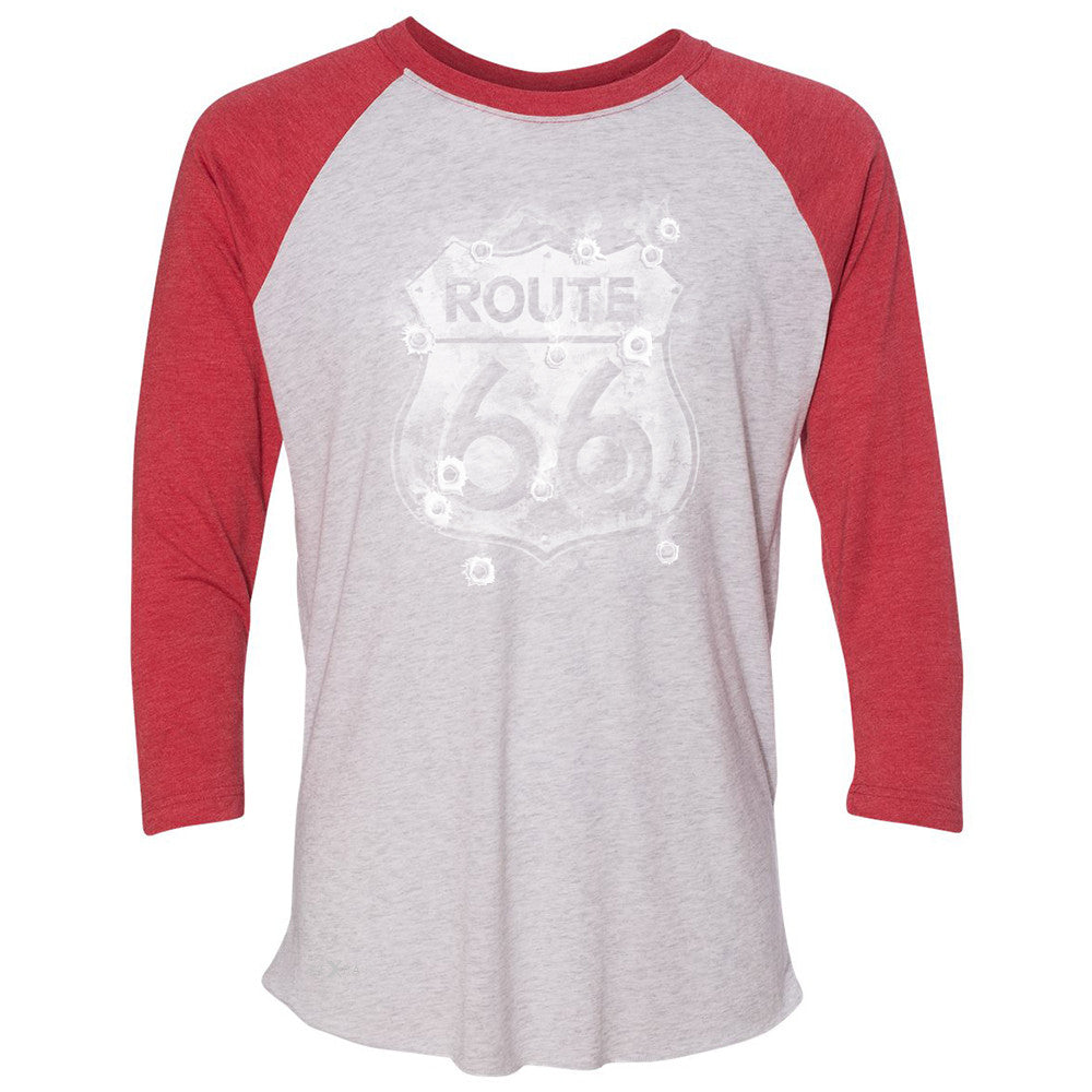 Route 66 Bullet Holes Unisex - 3/4 Sleevee Raglan Tee Highway Sign Tee - Zexpa Apparel - 2