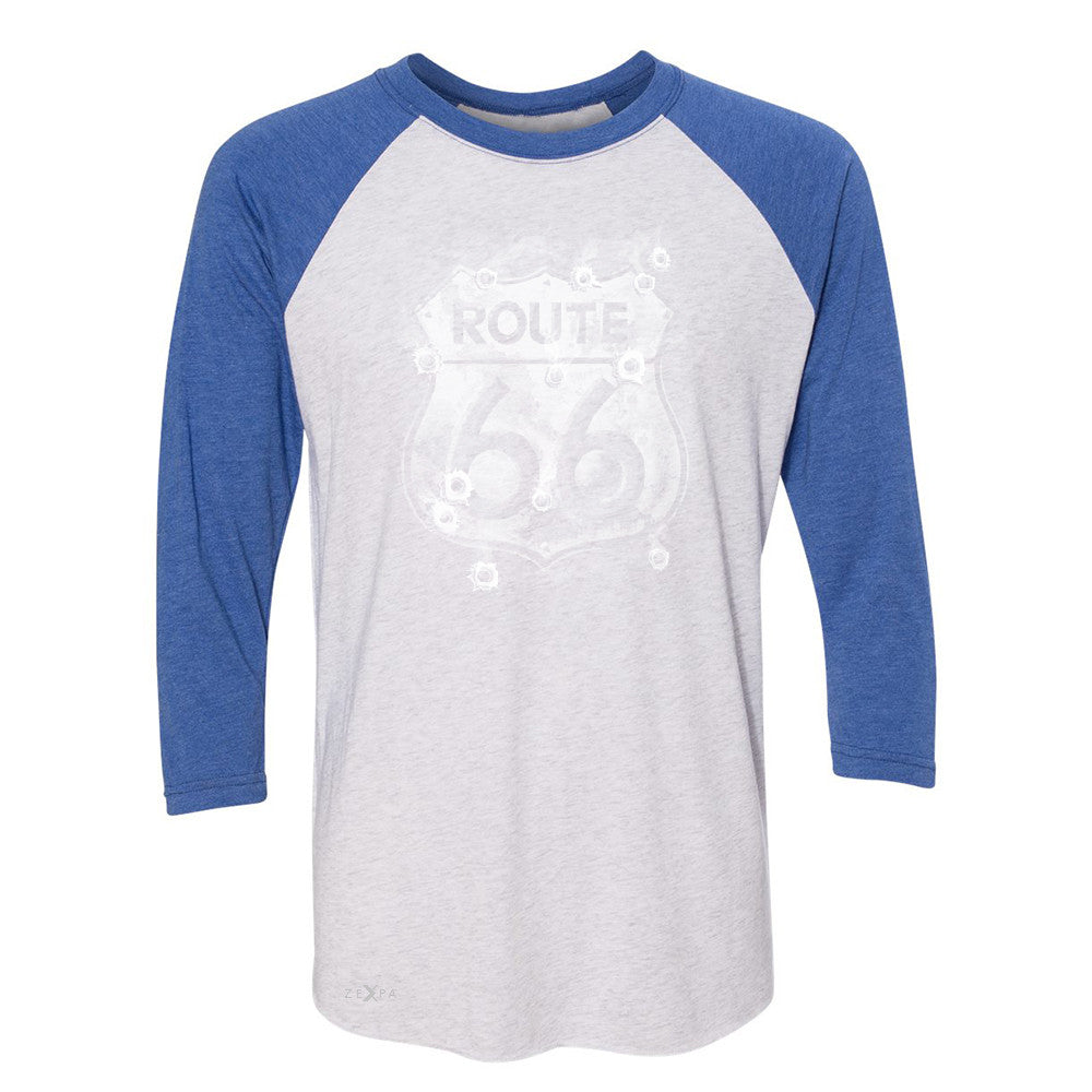 Route 66 Bullet Holes Unisex - 3/4 Sleevee Raglan Tee Highway Sign Tee - Zexpa Apparel - 3