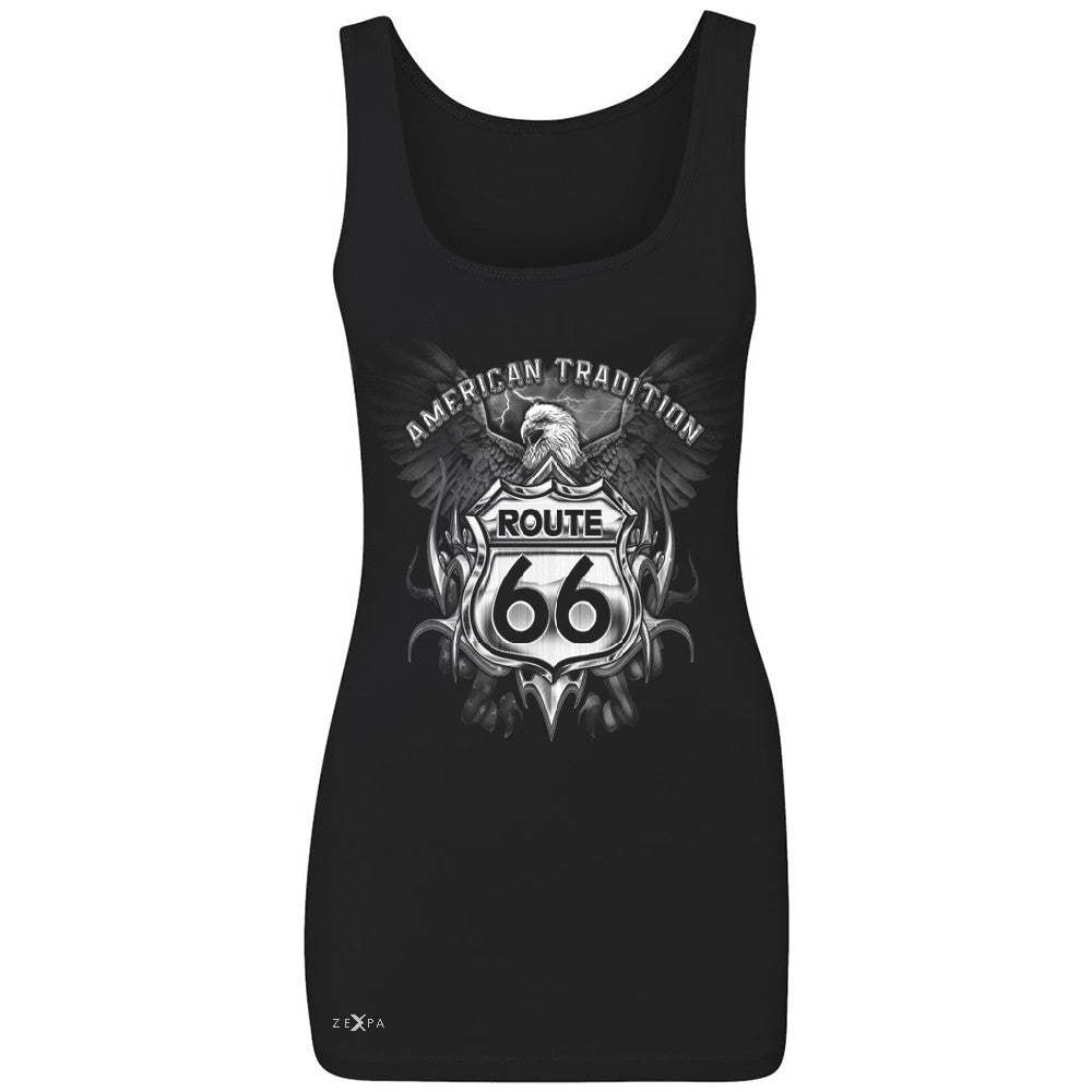 Route 66 American Traditon Eagle Biker - Women's Tank Top Biker Sleeveless - Zexpa Apparel - 1