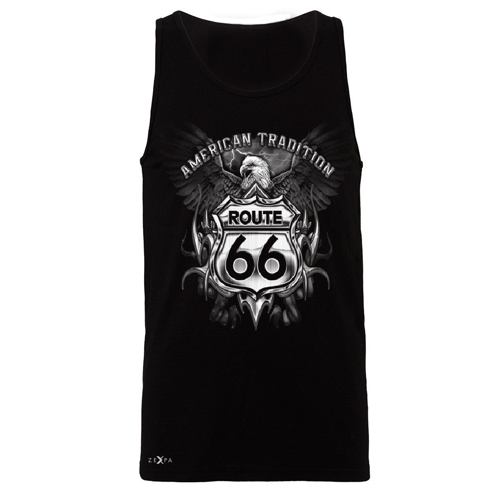 Route 66 American Traditon Eagle Biker - Men's Jersey Tank Biker Sleeveless - Zexpa Apparel - 1