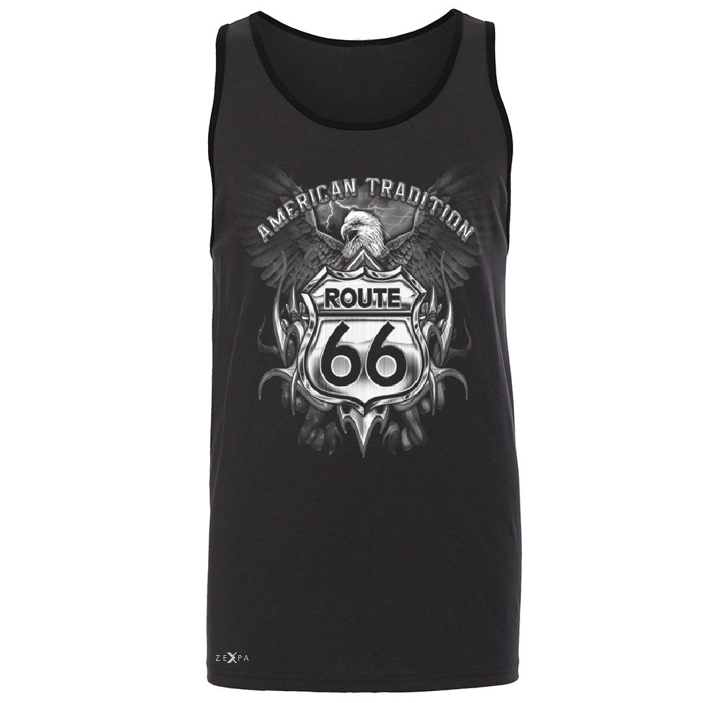 Route 66 American Traditon Eagle Biker - Men's Jersey Tank Biker Sleeveless - Zexpa Apparel - 3