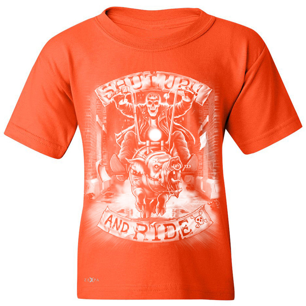 Shut Up and Ride Wild Boar Youth T-shirt Skeleton Tee - Zexpa Apparel - 2