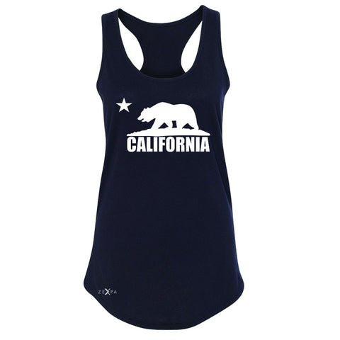 California Bear White Star Women's Racerback State Flag Cali CA Sleeveless - Zexpa Apparel Halloween Christmas Shirts