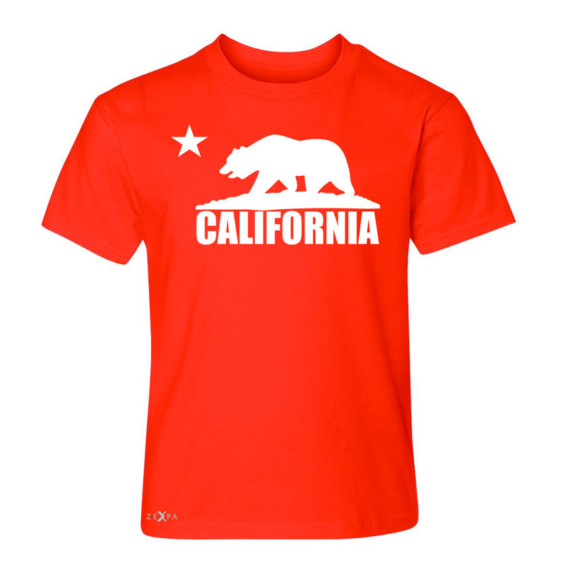 California Bear White Star Youth T-shirt State Flag Cali CA Tee - Zexpa Apparel Halloween Christmas Shirts