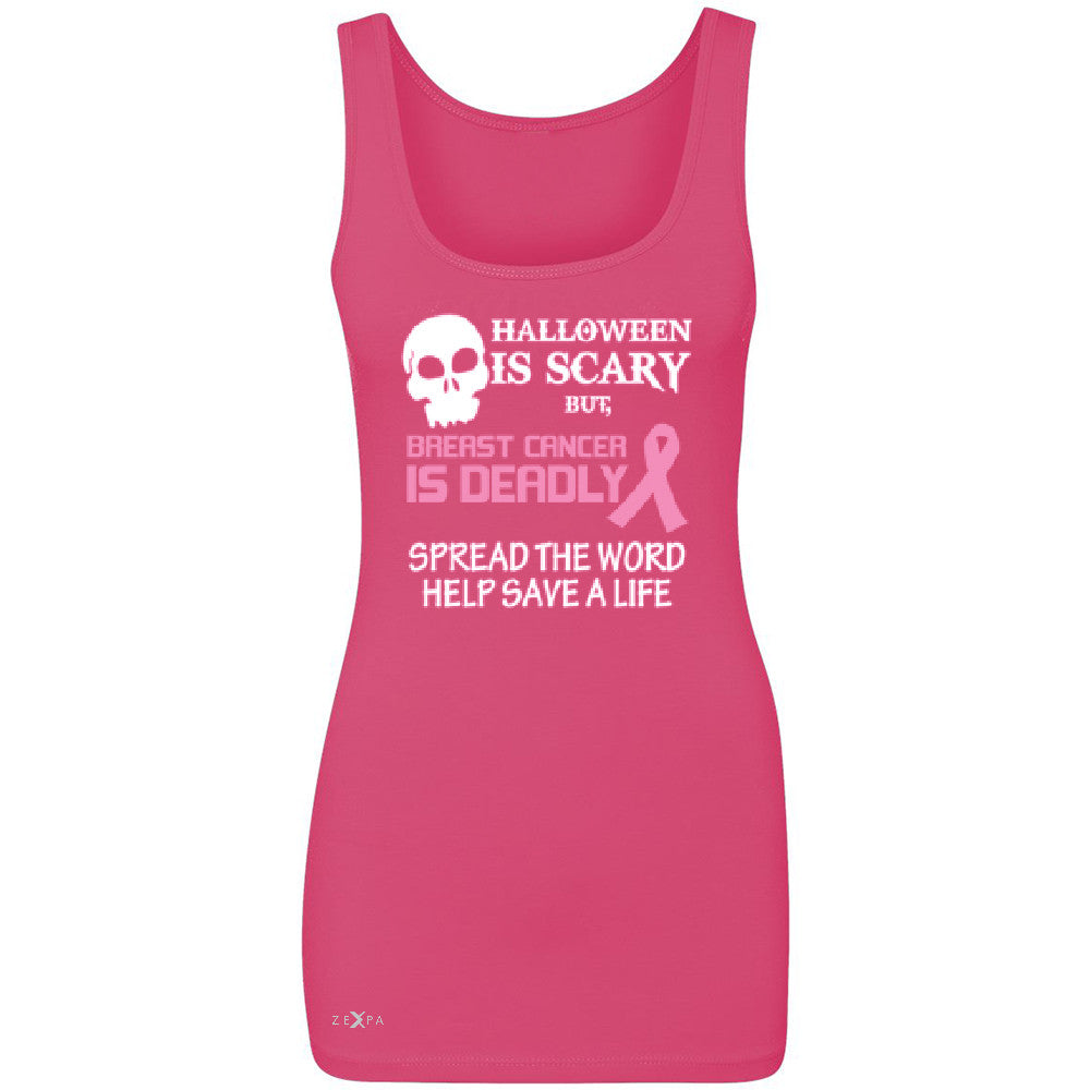 Halloween is Scary but Beast is Cancer Deadly Women's Tank Top   Sleeveless - Zexpa Apparel - 2