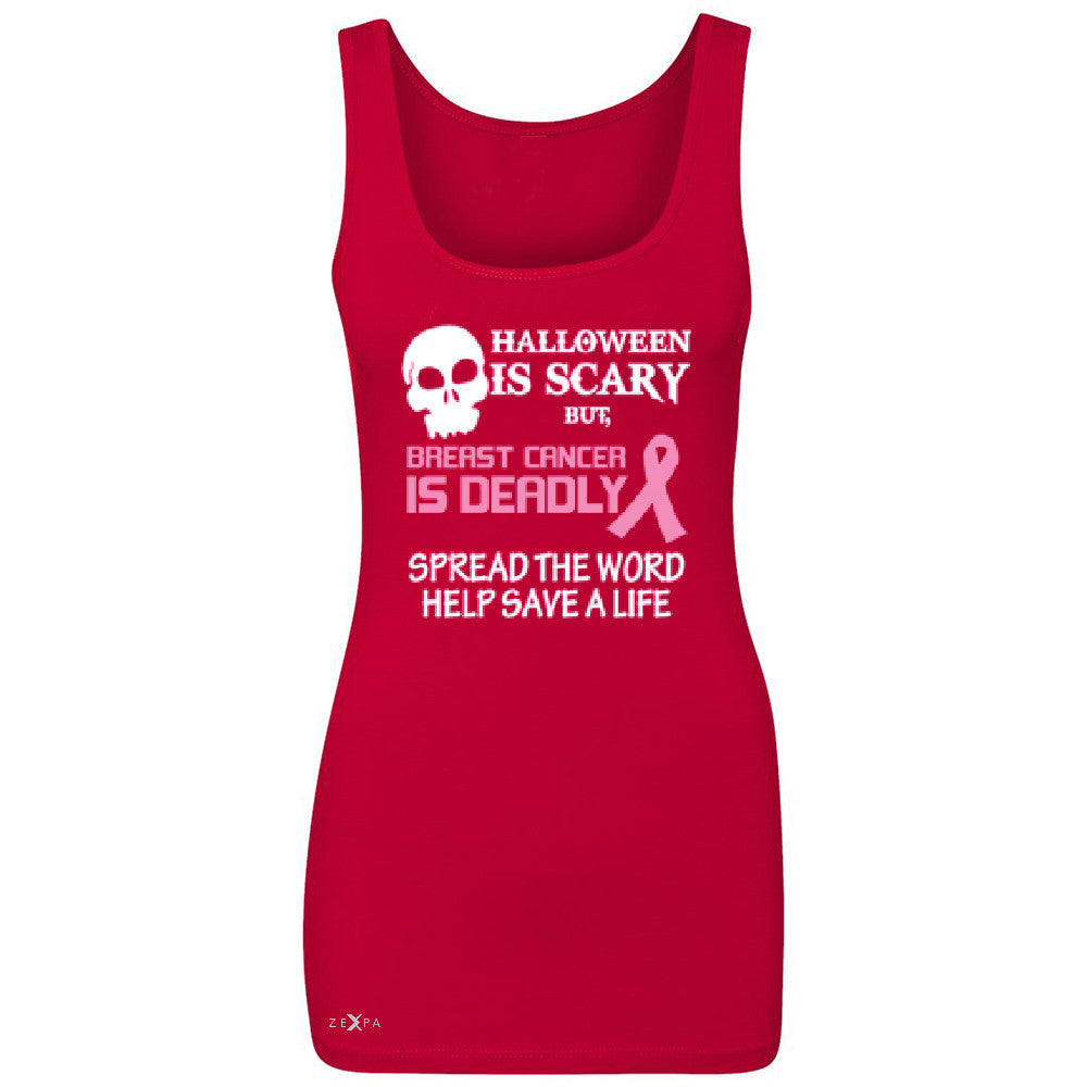 Halloween is Scary but Beast is Cancer Deadly Women's Tank Top   Sleeveless - Zexpa Apparel - 3