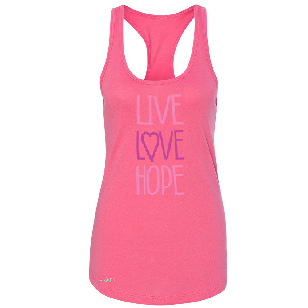 Live Love Hope Women's Racerback Breast Cancer Awareness Event Oct Sleeveless - Zexpa Apparel - 2