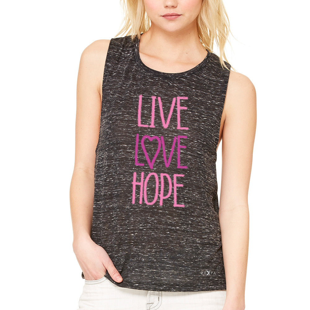 Live Love Hope Women's Muscle Tee Breast Cancer Awareness Event Oct Tanks - Zexpa Apparel - 3