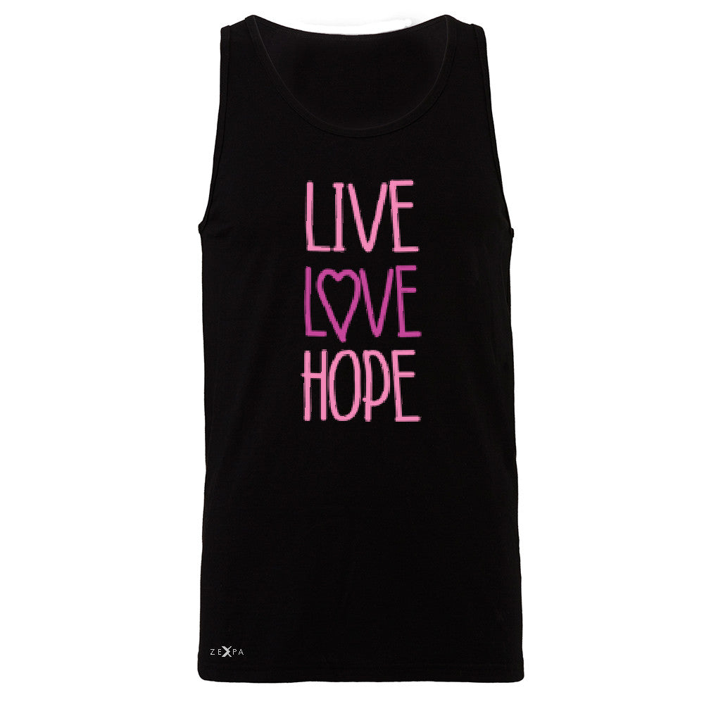 Live Love Hope Men's Jersey Tank Breast Cancer Awareness Event Oct Sleeveless - Zexpa Apparel - 1