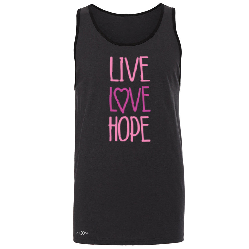 Live Love Hope Men's Jersey Tank Breast Cancer Awareness Event Oct Sleeveless - Zexpa Apparel - 3