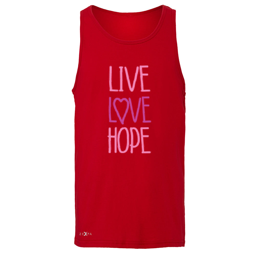 Live Love Hope Men's Jersey Tank Breast Cancer Awareness Event Oct Sleeveless - Zexpa Apparel - 4