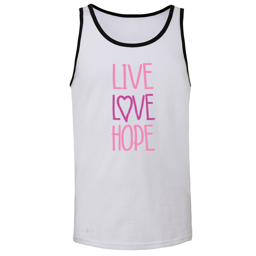 Live Love Hope Men's Jersey Tank Breast Cancer Awareness Event Oct Sleeveless - Zexpa Apparel - 5