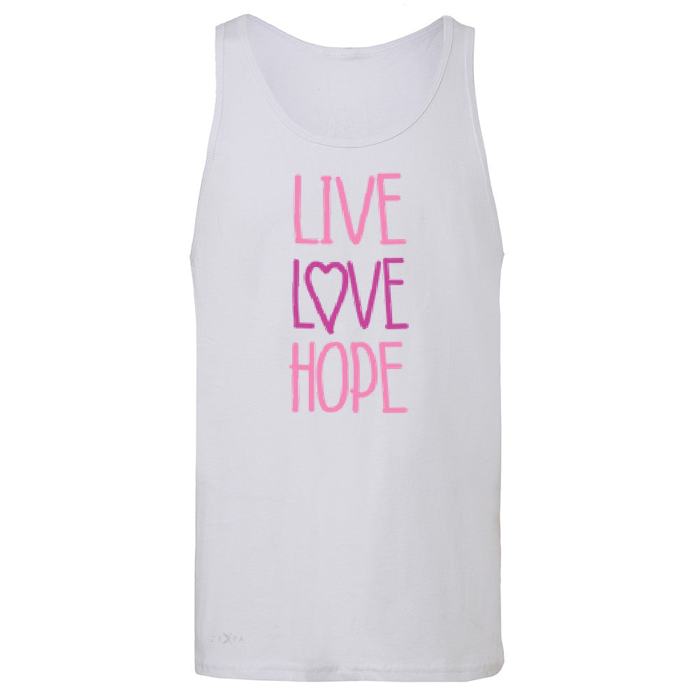 Live Love Hope Men's Jersey Tank Breast Cancer Awareness Event Oct Sleeveless - Zexpa Apparel - 6