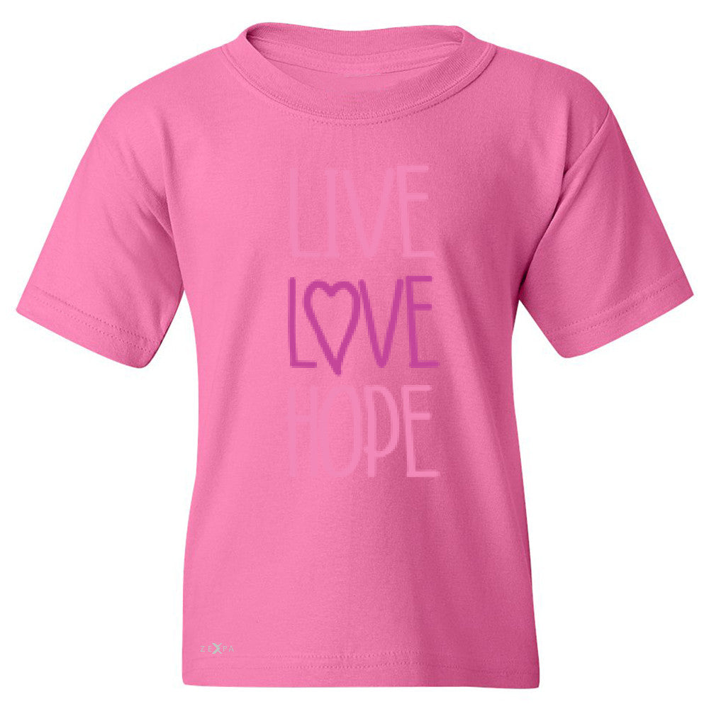 Live Love Hope Youth T-shirt Breast Cancer Awareness Event Oct Tee - Zexpa Apparel - 3