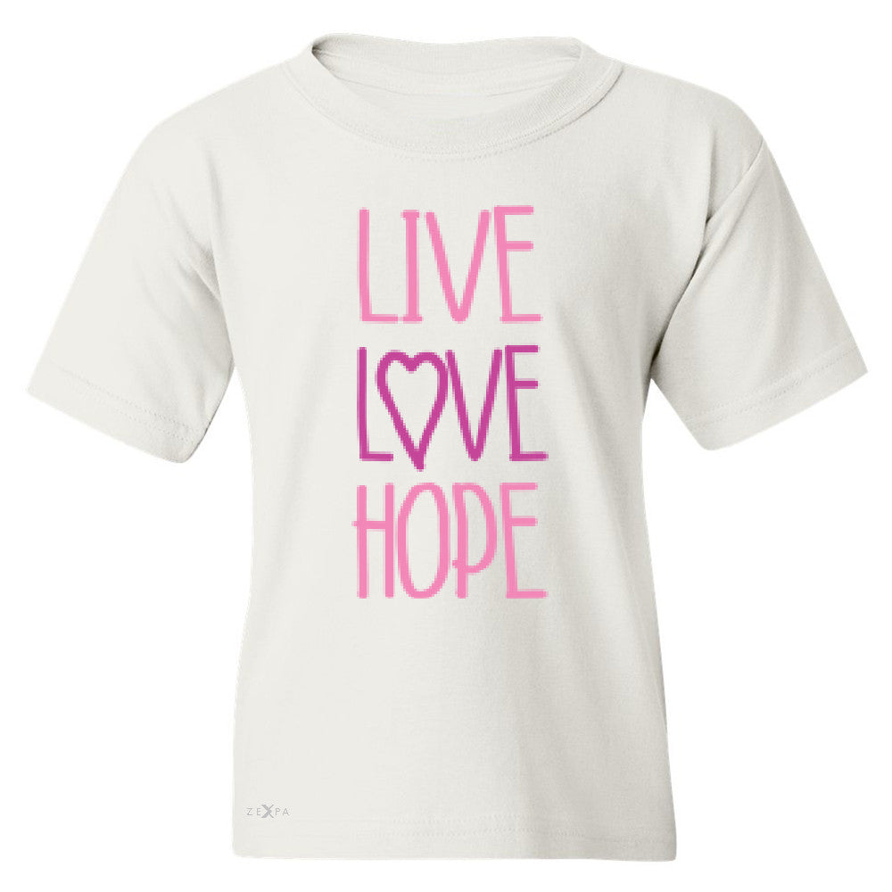 Live Love Hope Youth T-shirt Breast Cancer Awareness Event Oct Tee - Zexpa Apparel - 5