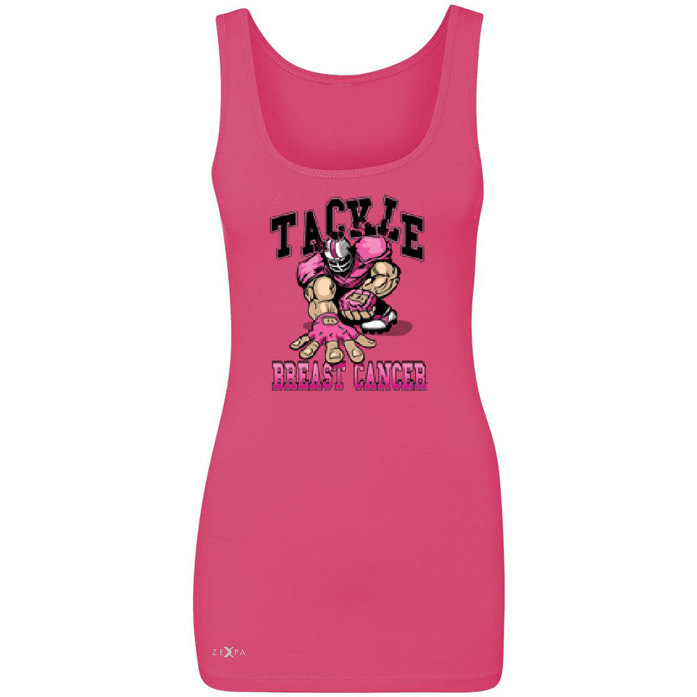 Tackle Breast Cancer Women's Tank Top Breast Cancer Awareness Sleeveless - Zexpa Apparel - 2