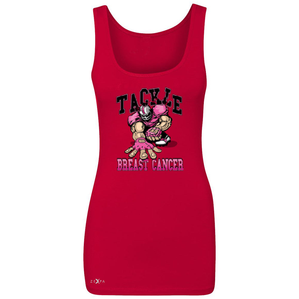 Tackle Breast Cancer Women's Tank Top Breast Cancer Awareness Sleeveless - Zexpa Apparel - 3