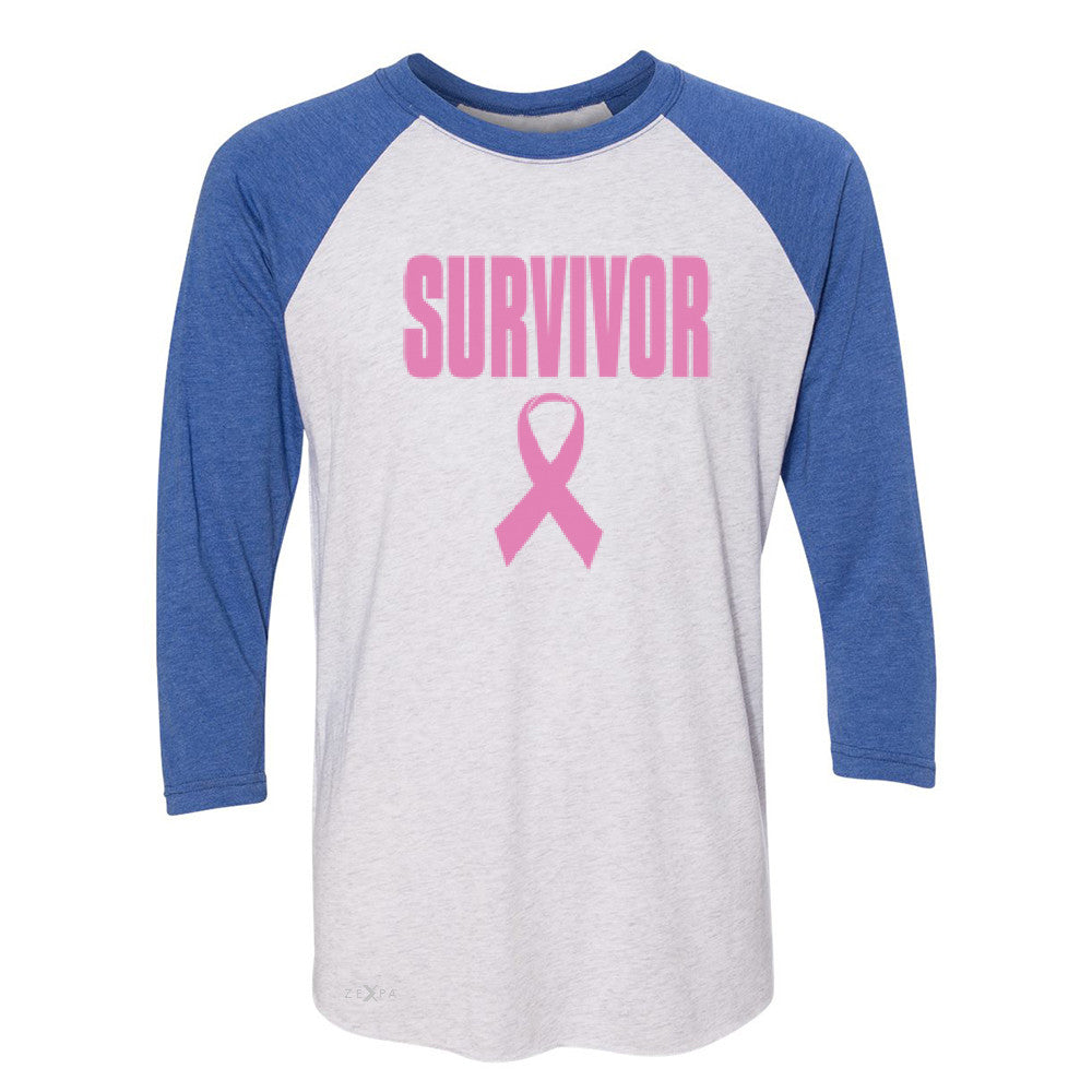 Survivor Pink Ribbon 3/4 Sleevee Raglan Tee Breast Cancer Awareness Real Tee - Zexpa Apparel - 3