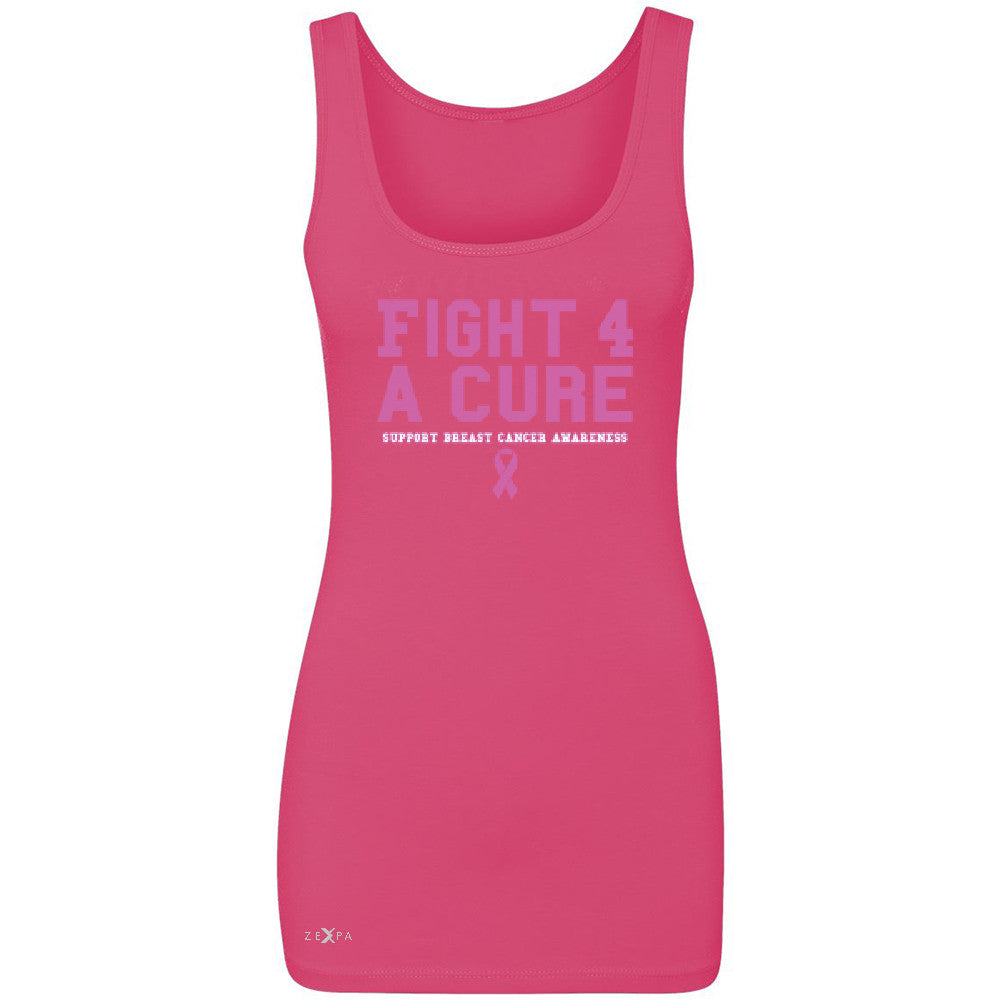 Fight 4 A Cure Women's Tank Top Support Breast Cancer Awareness Sleeveless - Zexpa Apparel - 2