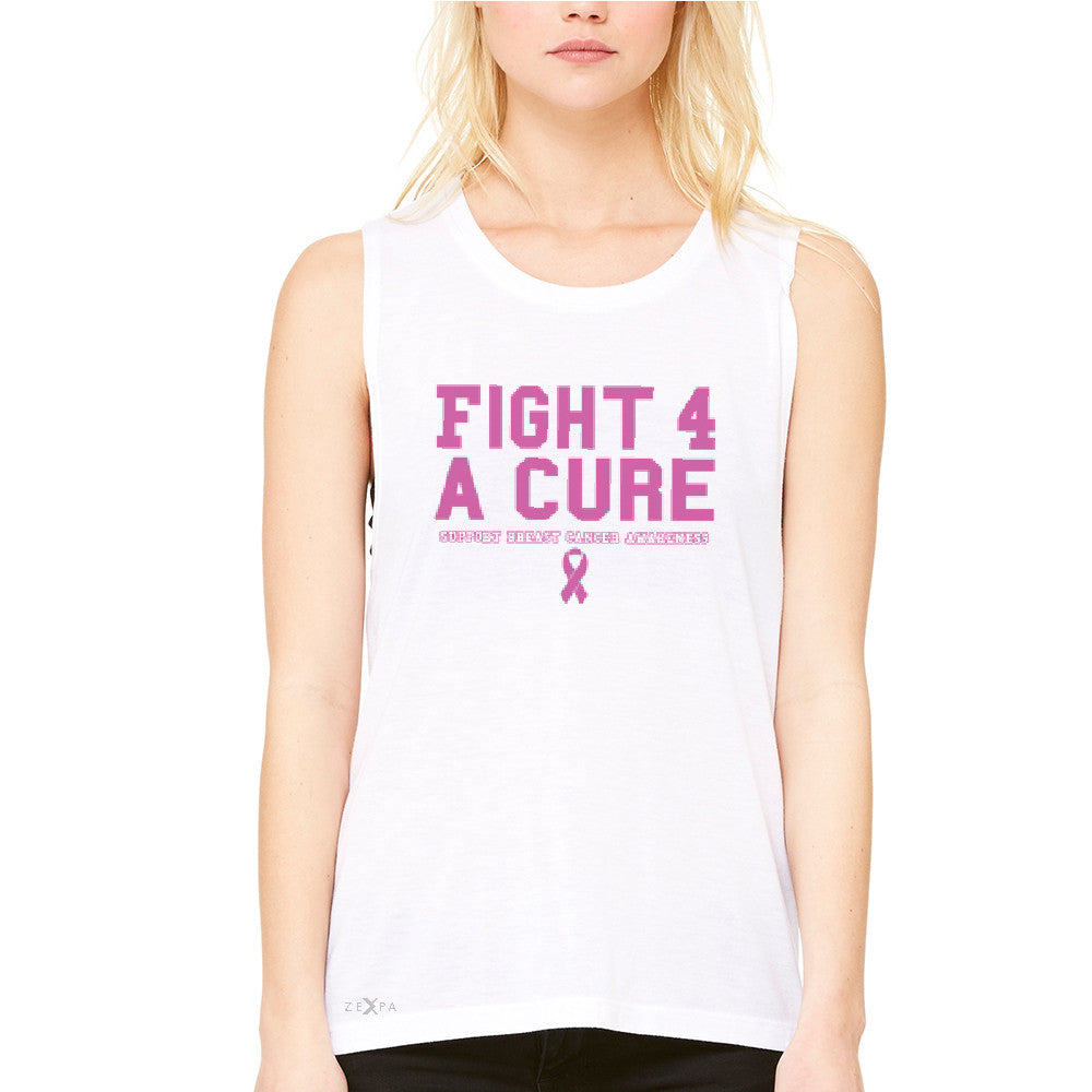 Fight 4 A Cure Women's Muscle Tee Support Breast Cancer Awareness Tanks - Zexpa Apparel - 6