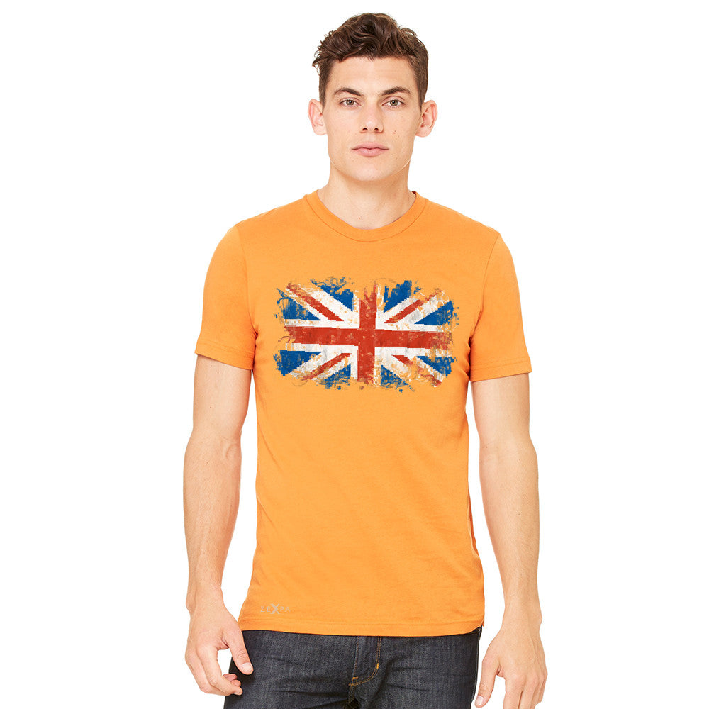 Distressed Atilt British Flag UK Men's T-shirt Patriotic Tee - Zexpa Apparel Halloween Christmas Shirts
