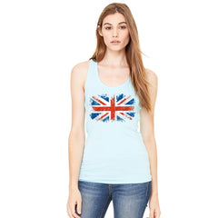 Distressed Atilt British Flag UK Women's Racerback Patriotic Sleeveless - Zexpa Apparel Halloween Christmas Shirts
