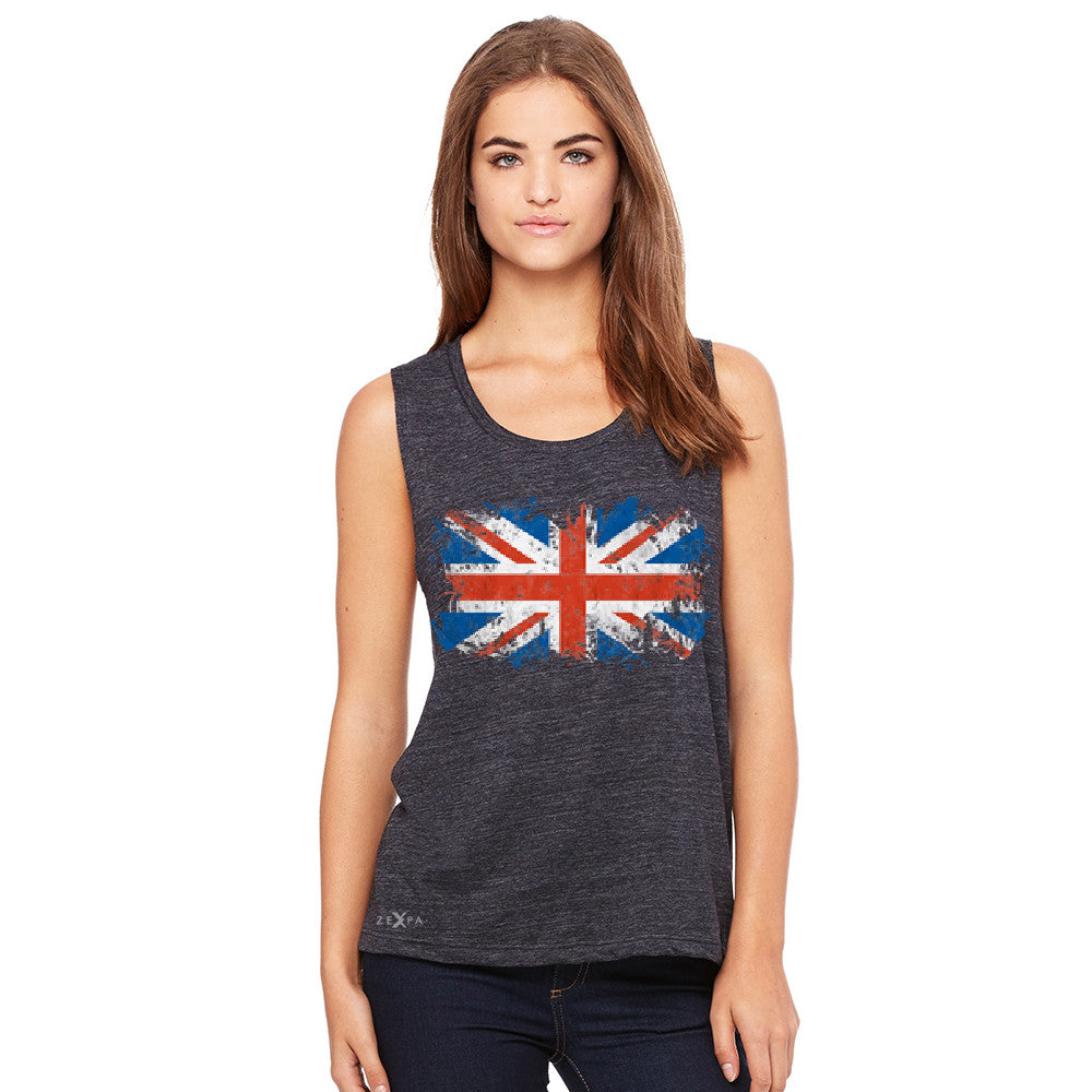 Distressed Atilt British Flag UK Women's Muscle Tee Patriotic Sleeveless - Zexpa Apparel Halloween Christmas Shirts