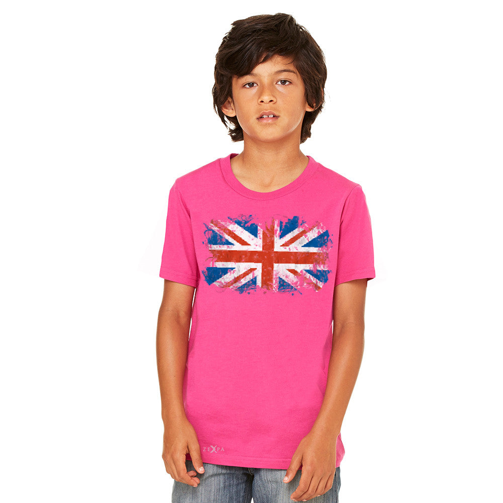 Distressed Atilt British Flag UK Youth T-shirt Patriotic Tee - Zexpa Apparel - 2