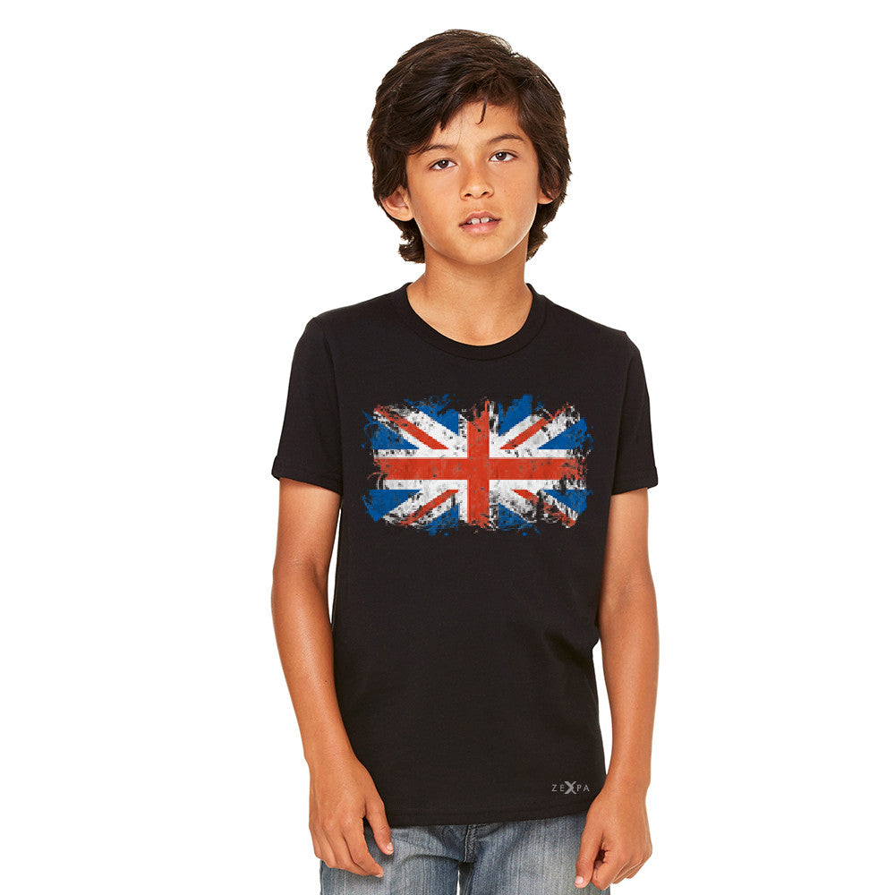Distressed Atilt British Flag UK Youth T-shirt Patriotic Tee - Zexpa Apparel - 3