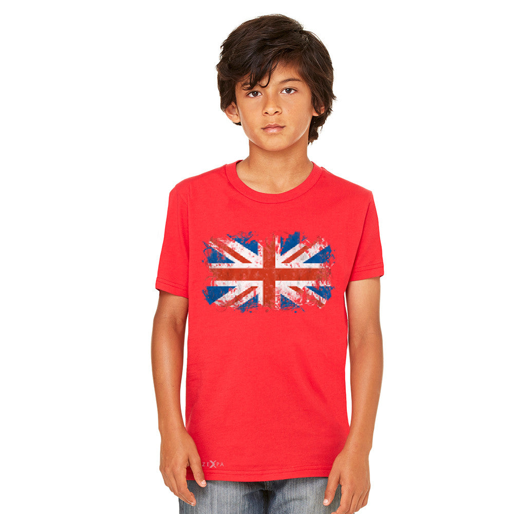 Distressed Atilt British Flag UK Youth T-shirt Patriotic Tee - Zexpa Apparel Halloween Christmas Shirts