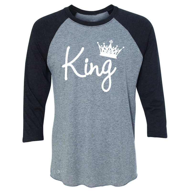 King - He is my King 3/4 Sleevee Raglan Tee Couple Matching Valentines Tee - Zexpa Apparel - 1