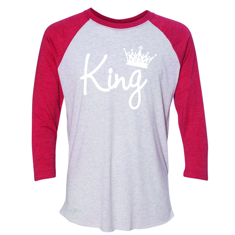 King - He is my King 3/4 Sleevee Raglan Tee Couple Matching Valentines Tee - Zexpa Apparel - 2