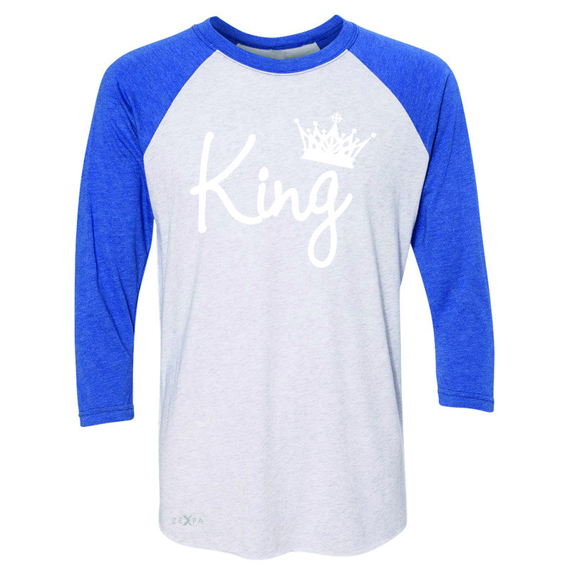 King - He is my King 3/4 Sleevee Raglan Tee Couple Matching Valentines Tee - Zexpa Apparel - 3